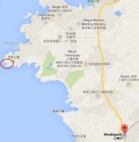 三崎口から荒崎海岸までの地図