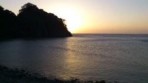 浮島海岸での夕焼け